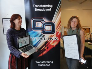 Helen, Vicki and the CityLink banner